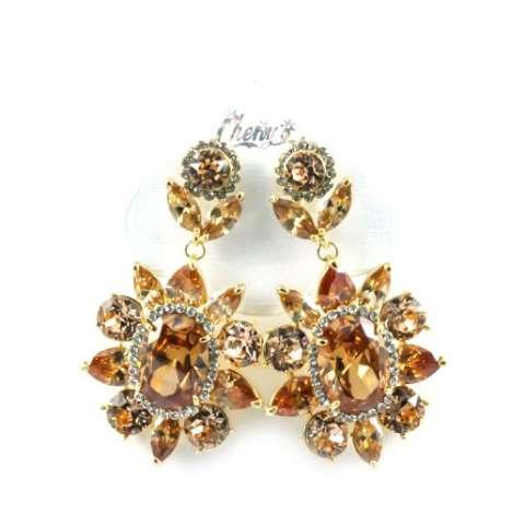 Orecchini Chandelier oro fiore cristalli Swarovski bronzo