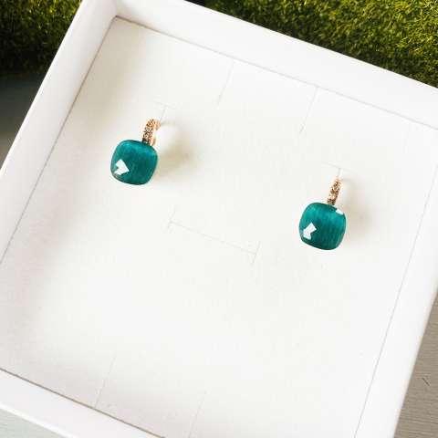 Orecchini Nudo argento 925 oro rosa Opale verde