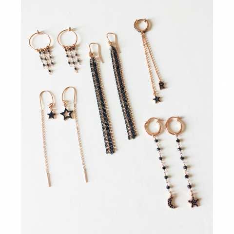 Orecchini pendenti a cerchio argento 925 oro rosa con catene rosario pietre blu scuro