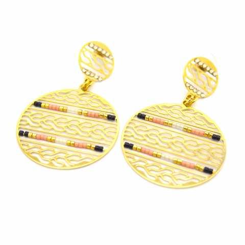 Orecchini pendenti a cerchio filigrana dorata e cristalli di Boemia