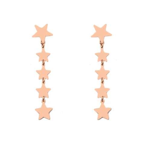 Orecchini pendenti argento 925 oro rosa 5 stelle