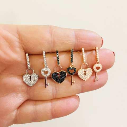 Rose gold sterling silver Zirconia Heart and Padlock drop earrings