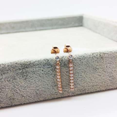Orecchini pendenti argento 925 oro rosa filo Zirconi