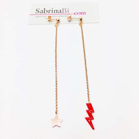 Orecchini pendenti argento 925 oro rosa Fulmine e stella