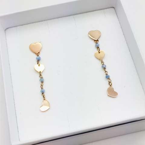 Orecchini pendenti argento 925 oro rosa rosario azzurro 3 Cuori