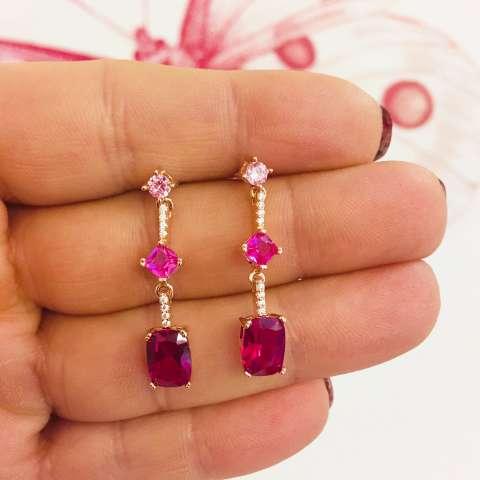 Orecchini pendenti argento 925 oro rosa Zirconi rubino