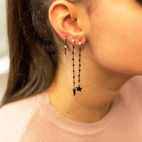 Orecchini pendenti argento 925 rosario rodiato nero stella e cornetto
