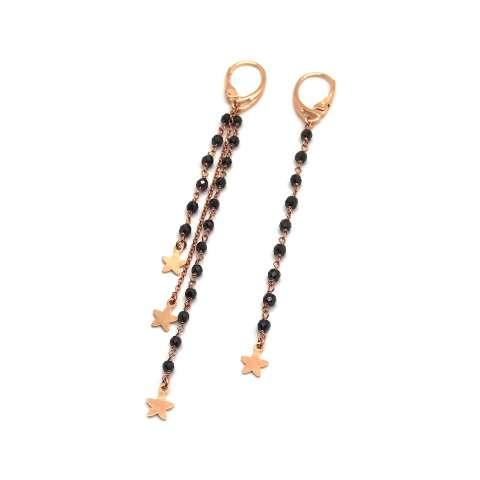 Orecchini pendenti asimmetrici catene argento 925 oro rosa e rosario nero con stelle