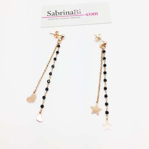 Orecchini pendenti catene argento 925 oro rosa e rosario nero stelle e cuori
