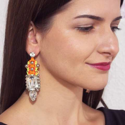 Geometric Swarovski crystals statement fluo drop earrings