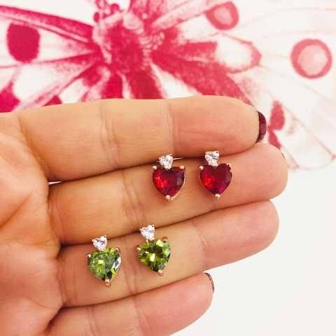 Orecchini pendenti corti argento 925 oro rosa cuore Zircone rosso rubino