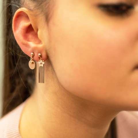 Orecchini pendenti corti argento 925 oro rosa piastrina e stelle Zirconi