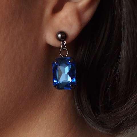 Orecchini pendenti cristallo blu