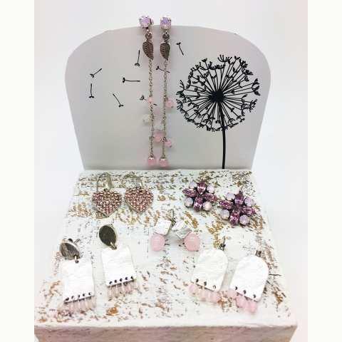 Orecchini pendenti cuore cristalli Swarovski rosa