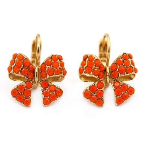 Orecchini pendenti dorati fiocco cristalli rossi