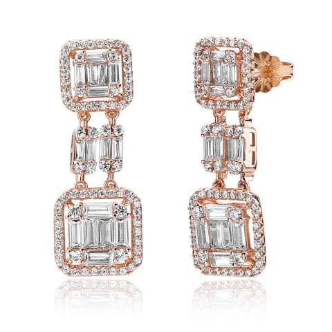 Orecchini pendenti geometrici argento 925 oro rosa