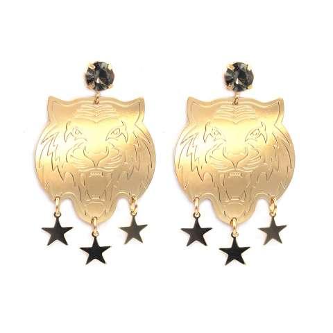 Orecchini pendenti oro Tigre e stelle