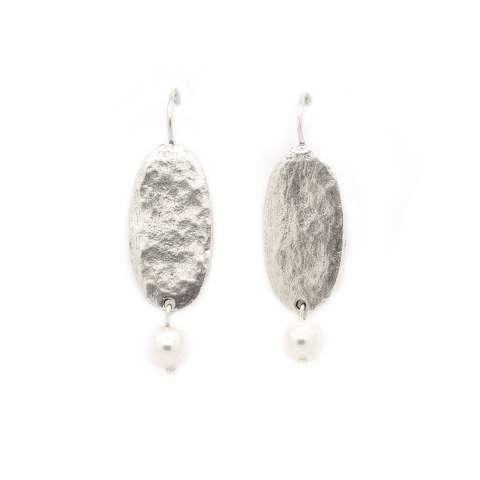 Orecchini pendenti placca argento e perla bianca