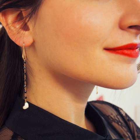 Orecchini pendenti rosario argento 925 oro rosa Spinelli neri e Cuori