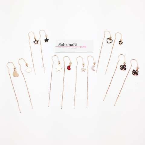 Orecchini thread a filo argento 925 oro rosa pendenti Cuore Corona