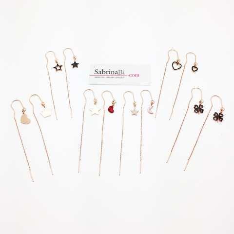 Orecchini thread a filo argento 925 oro rosa pendenti Cuori Zirconi neri