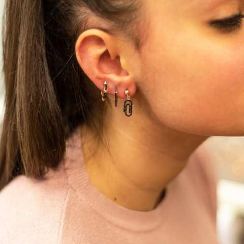 Orecchini triangolo argento 925 oro rosa Zirconi neri