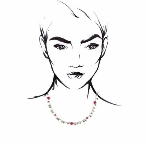 Splendida collana girocollo in argento con radici di rubino e piriti